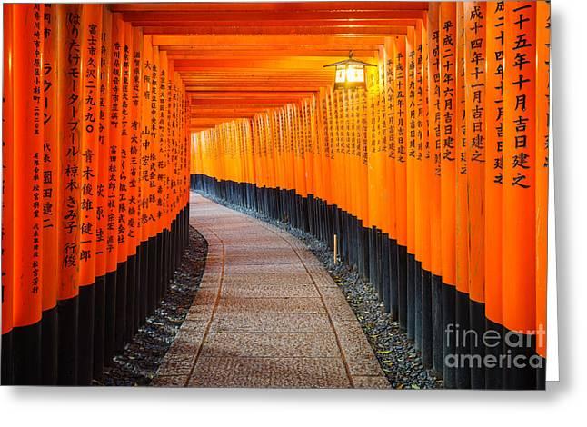 Torii Gates In Fushimi Inari Shrine Greeting Card