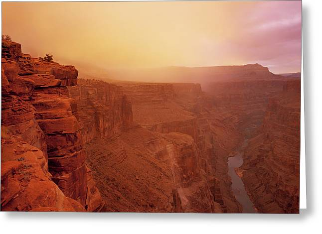 Toroweap Overlook Storm Sunrise Greeting Card by Leland D Howard