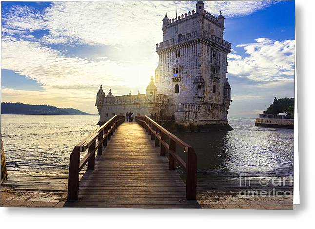 Torre De Belem - Famous Landmark Of Greeting Card