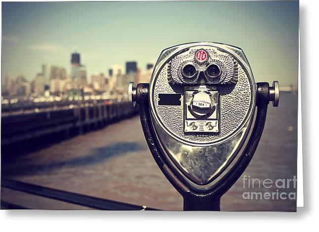 Tourist Binoculars At Liberty Island In Greeting Card