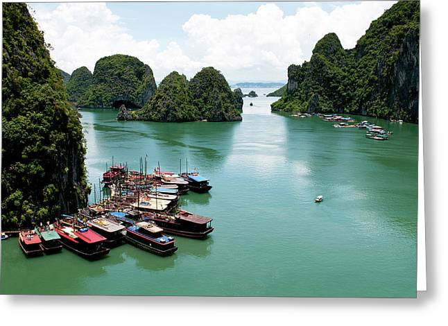 Greeting Card featuring the photograph Tourist Boats, Halong Bay, Vietnam by Michalakis Ppalis