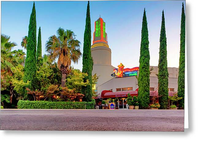 Greeting Card featuring the photograph Tower Cafe Dusk- by JD Mims
