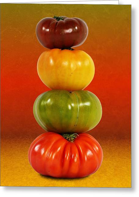 Tower Of Colorful Tomatoes Greeting Card