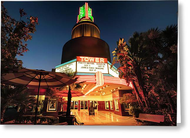 Greeting Card featuring the photograph Tower Theater- by JD Mims