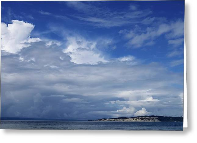 Towering Over Double Bluff Greeting Card by Tom Trimbath