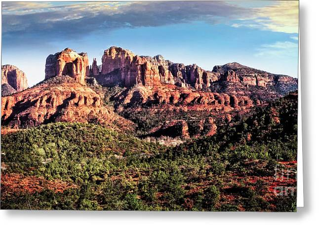 Greeting Card featuring the photograph Towering Red Rocks by Scott Kemper