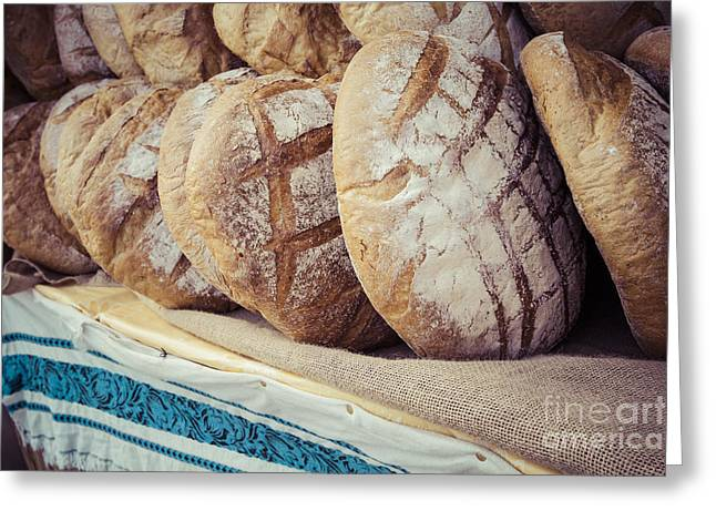 Traditional Bread In Polish Food Market Greeting Card