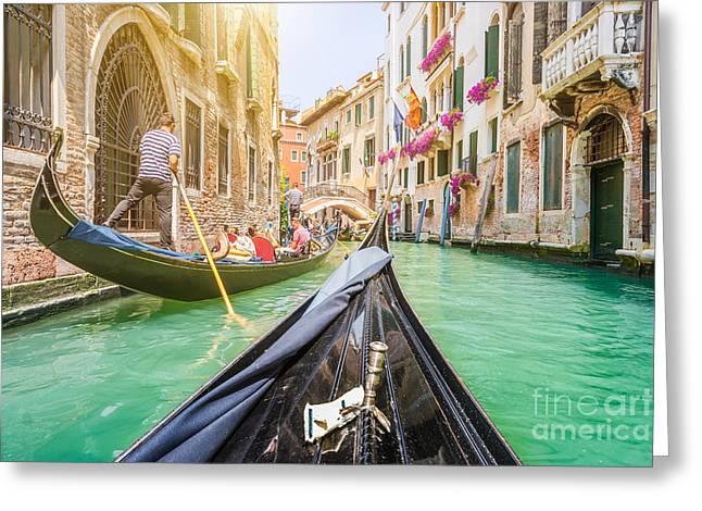 Traditional Gondolas On Narrow Canal In Greeting Card