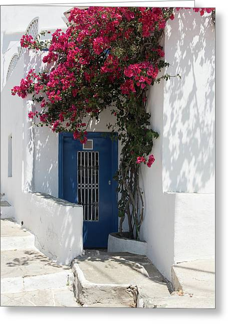 Greeting Card featuring the photograph Traditional Greek Island House Entrance by Michalakis Ppalis