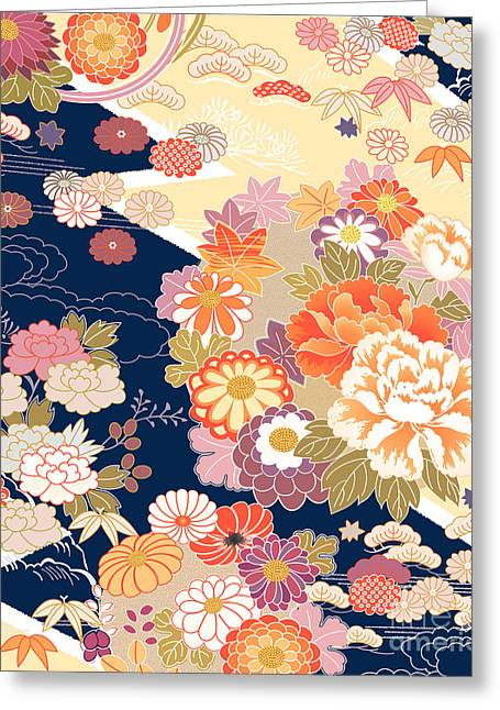 Traditional Kimono Motifs Greeting Card