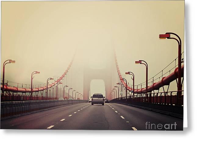 Traffic Crossing A Foggy Golden Gate Greeting Card