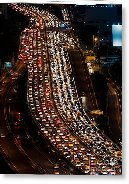 Traffic Jam On Express Way Bangkok Greeting Card