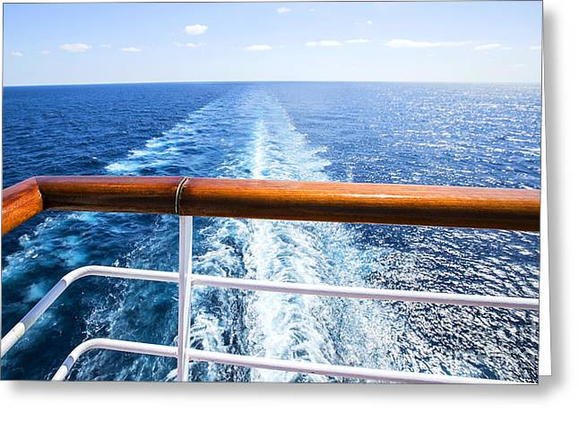 Trail On Water Surface Behind Of Cruise Greeting Card