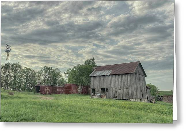Train Cars And A Barn Greeting Card