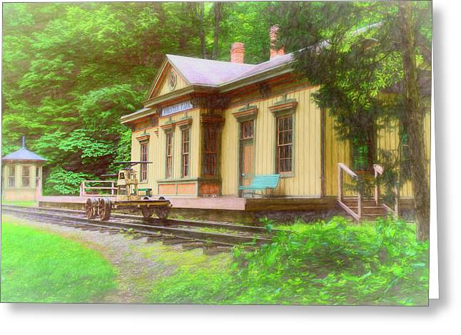 Train Depot With Hand Car Greeting Card