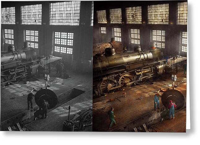 Greeting Card featuring the photograph Train - Repair - Third Door On The Right 1942 - Side By Side by Mike Savad