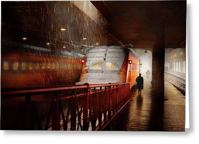 Greeting Card featuring the photograph Train - Retro - Last Train Of The Day 1943 by Mike Savad