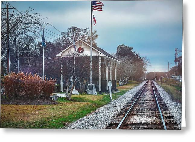 Train Tracks To Old Town Greeting Card