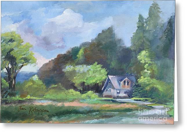Greeting Card featuring the painting Tranquility Near The Park - Ellijay, Ga - En Plein Air by Jan Dappen