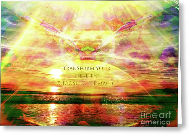 Greeting Card featuring the digital art Transform Your Reality by Atousa Raissyan