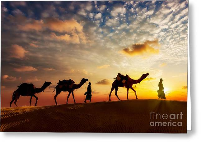 Travel Background - Two Cameleers Camel Greeting Card