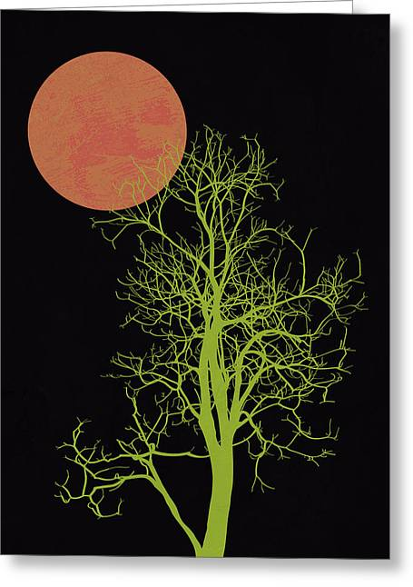 Tree And Orange Moon Greeting Card