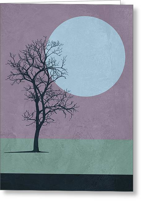 Tree And The Moon Greeting Card