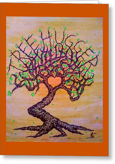 Greeting Card featuring the drawing Tree Hugger Love Tree W/ Foliage by Aaron Bombalicki