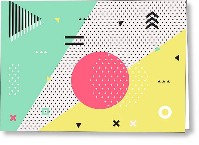 Trendy Geometric Elements Memphis Greeting Card