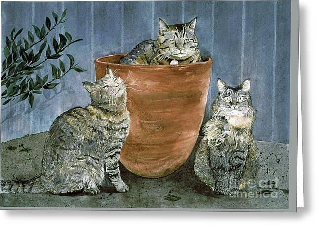 Tres Gatos Greeting Card