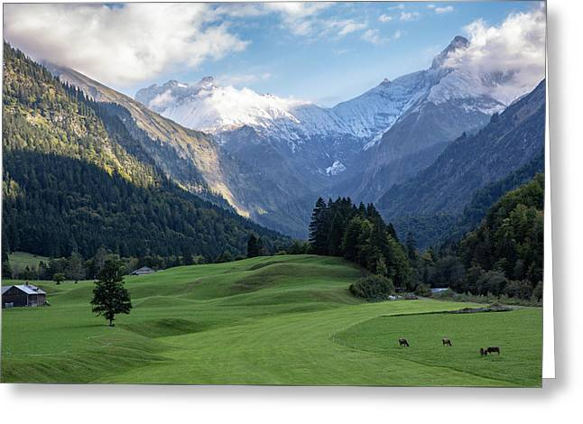Greeting Card featuring the photograph Trettachtal, Allgaeu by Andreas Levi