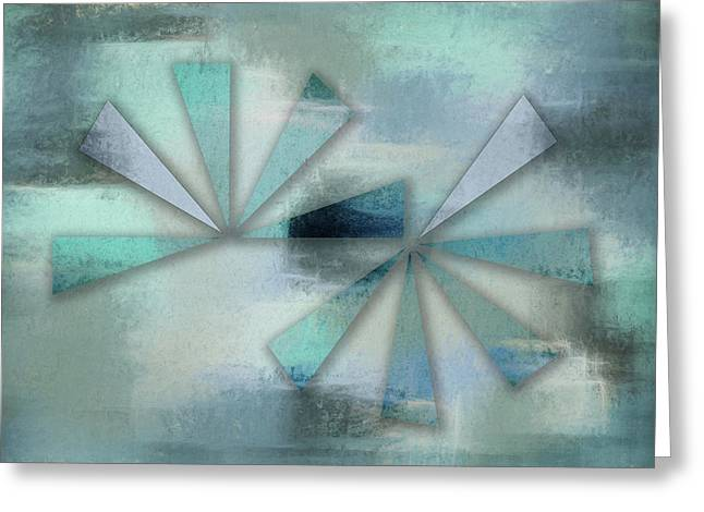 Triangles On Blue Grey Backdrop Greeting Card