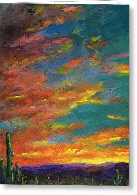 Triptych 1 Desert Sunset Greeting Card