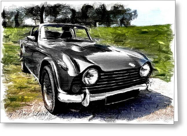 Triumph Tr5 Monochrome With Brushstrokes Greeting Card