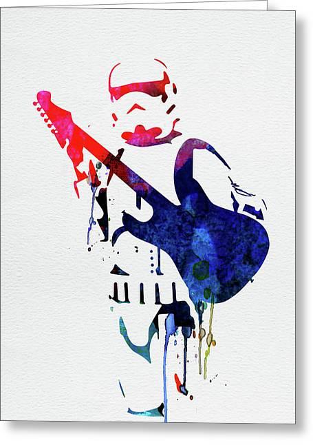 Trooper Playing Guitar Watercolor Greeting Card
