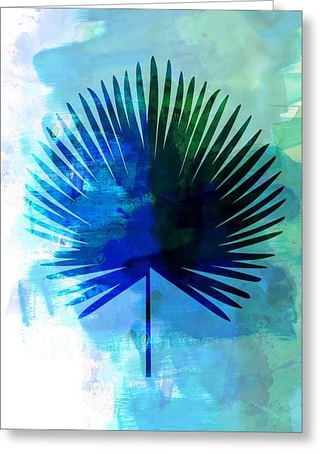 Tropical Chamaerops Leaf Watercolor Greeting Card