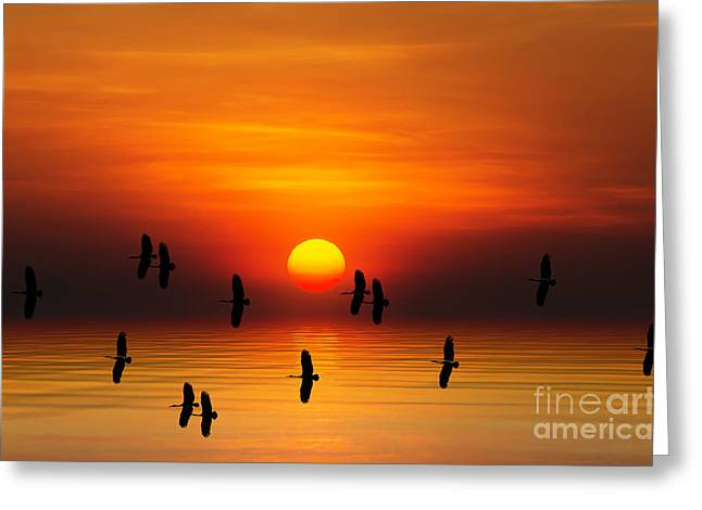 Tropical Colorful Sunset, Songkhla Greeting Card