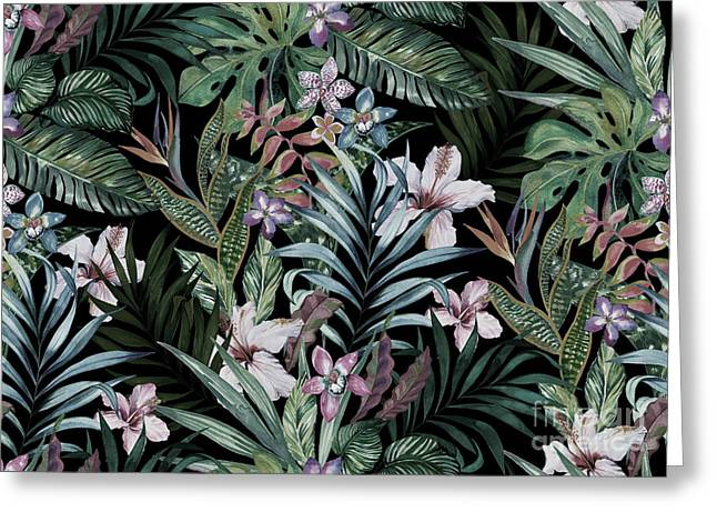 Tropical Floral Print. Variety Of Greeting Card