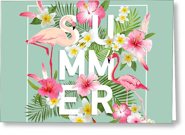 Tropical Flowers Background. Summer Greeting Card