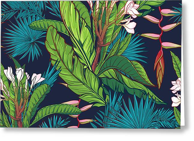 Tropical Jungle Seamless Pattern On Greeting Card