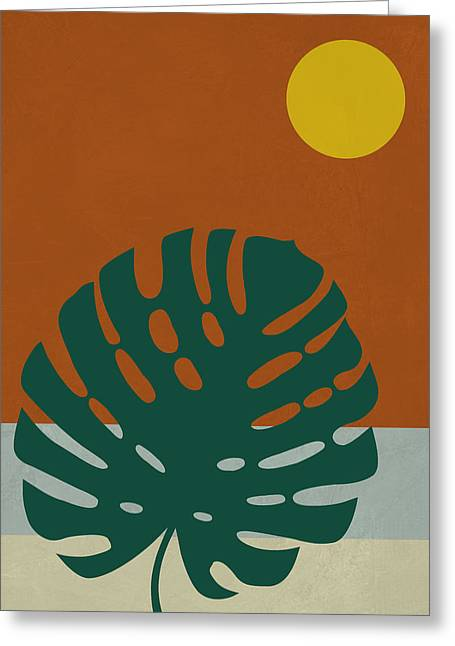 Tropical Leaf And Blue Moon Greeting Card