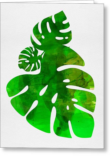 Tropical Monstera Leafs Greeting Card
