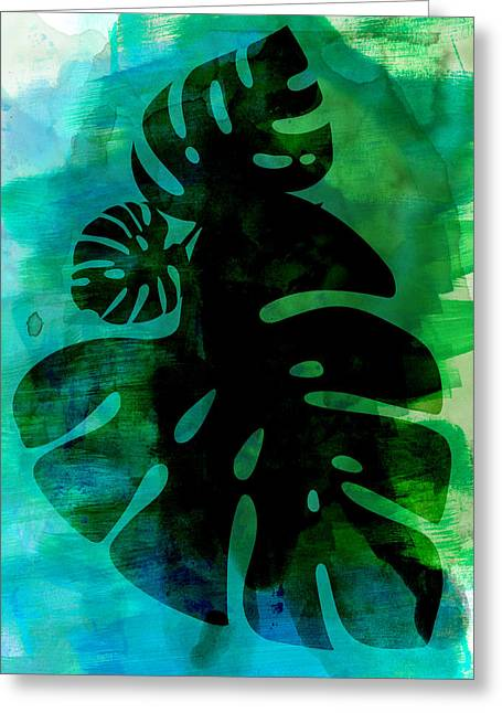 Tropical Monstera Leafs Watercolor Greeting Card