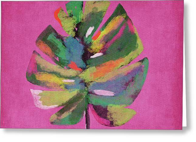 Tropical Palm Leaf Pink- Art By Linda Woods Greeting Card