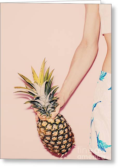 Tropical Summer. Fashion Girl With Greeting Card