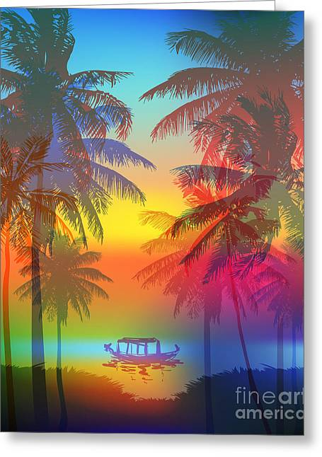Tropical Sunset On Palm Beach And Greeting Card