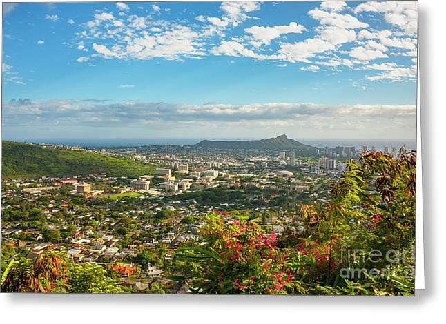 Greeting Card featuring the photograph Tropical View Of Honolulu And Diamond Head by Charmian Vistaunet