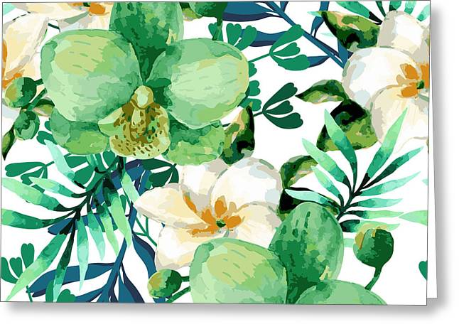 Tropical Watercolor Floral Seamless Greeting Card