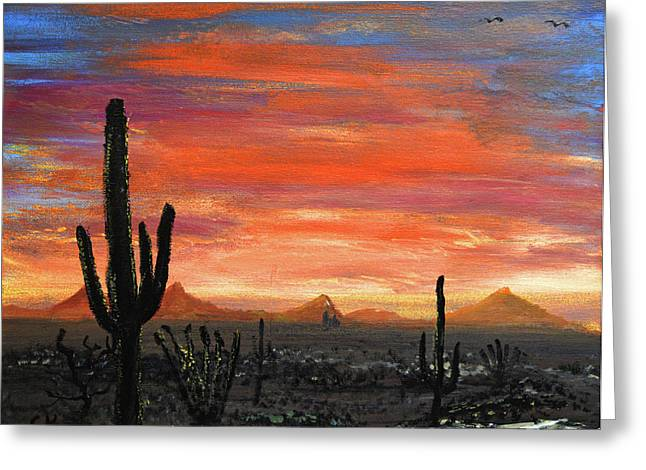 Tucson Mountains At Sunset Greeting Card