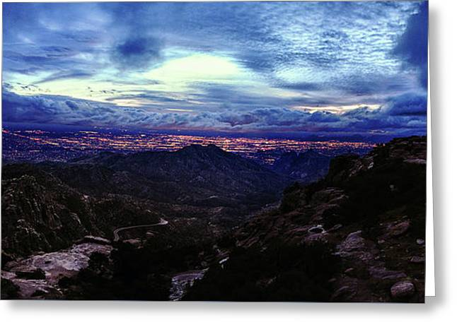 Tucson Twilight Panorama Greeting Card